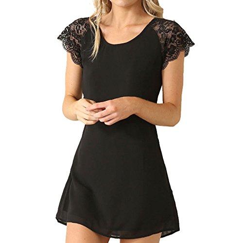 Eliacher Women's Casual Chiffon Lace Summer Dress 6155 (L, 1)