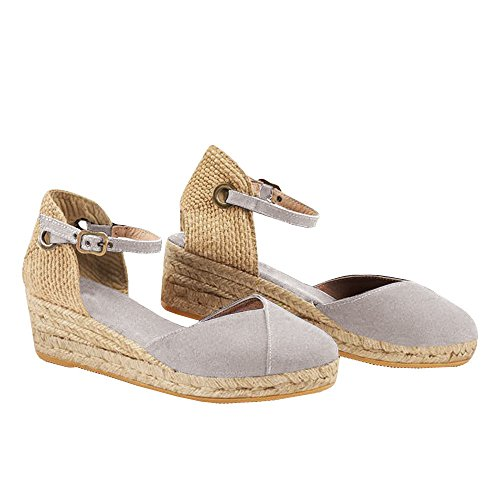 Syktkmx Womens Espadrille Ankle Strap Platform Wedge Closed Toe Mid Heel D'Orsay Sandals ()