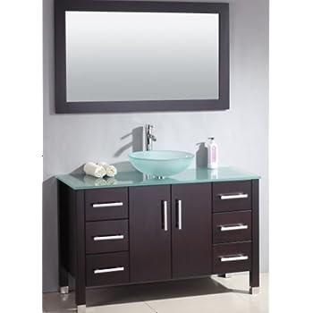 inch wood glass single vessel sink bathroom vanity set brushed nickel faucet cabinet size base plans storage ideas