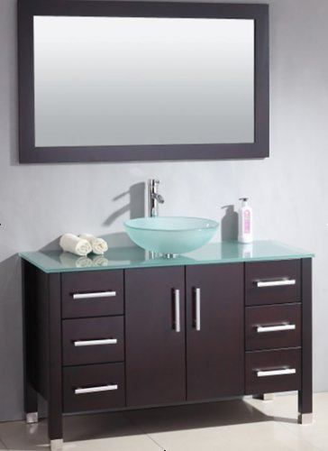 48 Inch Wood & Glass Single Vessel Sink Bathroom Vanity Set-