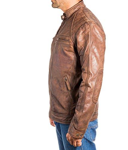 Vintage Zip Trapuntato Rivestimento Corre Marrone Che Con Dotato Elegante Retro Mens Motociclista Annata Di Cuoio 7Tt8nwtFE