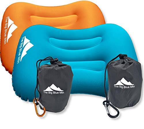 The Big Blue Mtn Ultralight Backpacking Inflatable Camping Pillow with Lightweight Compact Pouch Sack and Carabiner - Camp Hiking Summit Gear for Beach Sea Travel Hammock (Teal Orange 2 Pack)