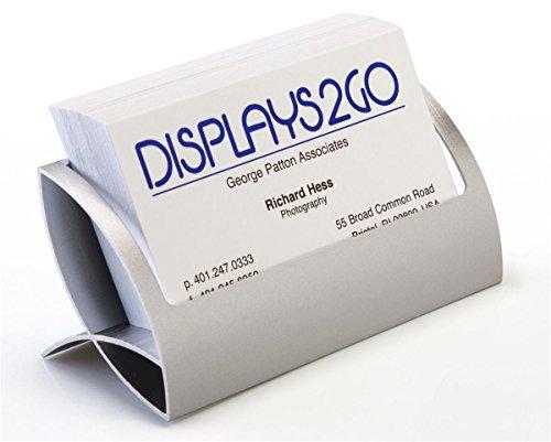 Displays2go Desktop Business Card Holders, Curved Design, Set of 4, Silver Aluminum (BCHQSLVR)