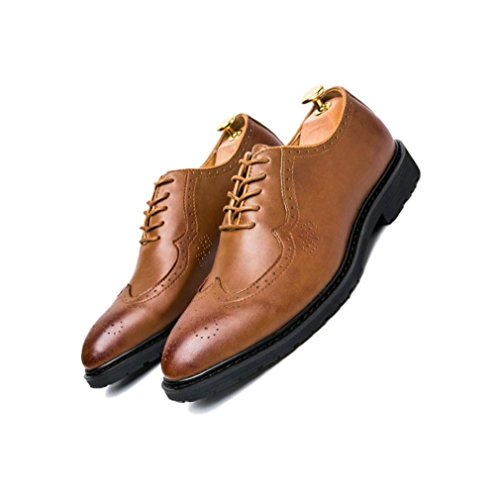 Chaussures en Cuir pour Homme Casual Business Net Chaussures Oxford Pointy Chaussures Round Head Soft Fond Jeunesse Brown