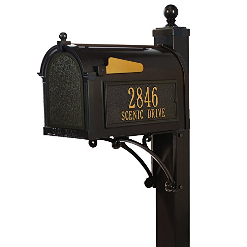Whitehall Custom Premium Capitol Mailbox and Deluxe Side Mount Post Package - Sand Cast Aluminum - French Bronze Personalized in Goldtone
