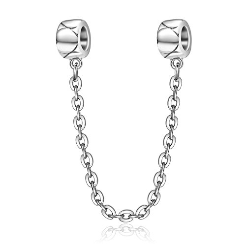 Soulbeads Clip Stopper Spacers Infinity Heart Safety Chain Charm 925 Sterling Silver Screw Threaded Chain for European Bracelet (Silver Big Heart) - Clip Silver Pandora Sterling