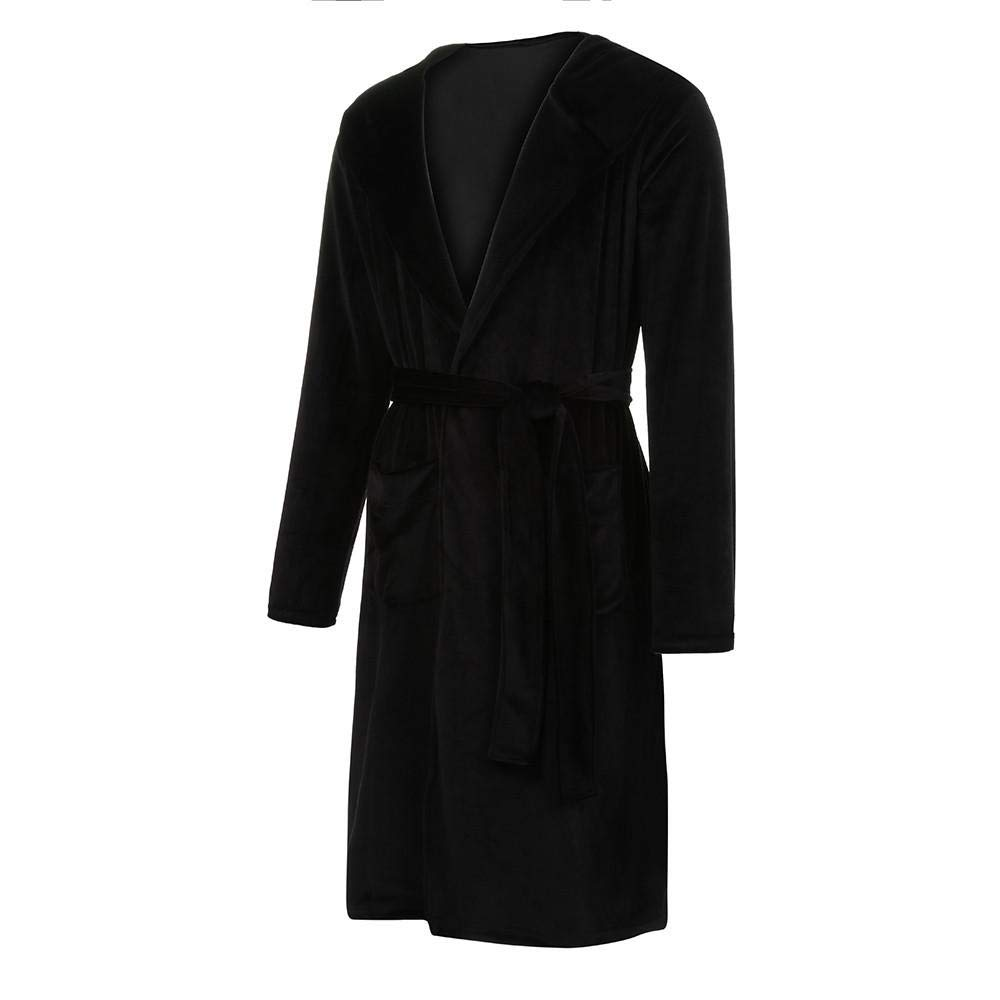 HGWXX7 Mens Hooded Bathrobe Winter Warm Coralline Plush Shawl Long Sleeve Plus Size Robes for Men