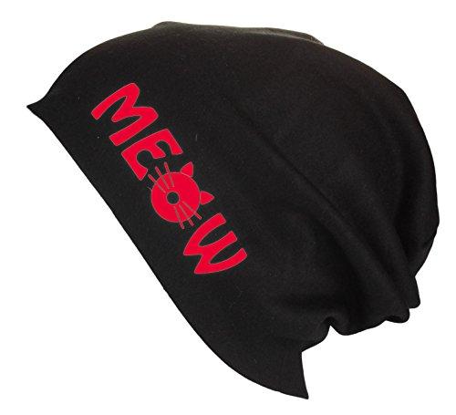Gorro Beanie Jersey largo con letras Meow testa de gato / Gorro de verano Mujer Hombre en varios colores Rojo