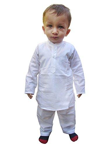 Flawn't Plain White Cotton Kurta and Pajama Set for toddler -