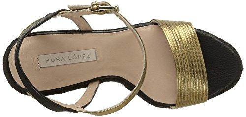 Pura Lopez Ah335 - Sandalias de cuña Mujer Dorado