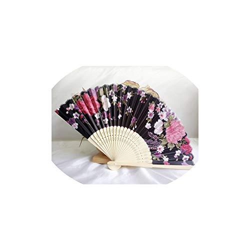 Decorative Folding Fans Bamboo Fans Folding Hand Fan Classical Wedding Flowers Floral Dance Party Festival Decor,Black