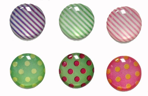 6 Pieces Polka Dots and Stripes 3D Semi-Circular Home Button Stickers for iPhone 5 4/4s 3GS 3G, iPad 2, iPad Mini, iTouch Green Purple Pink Red