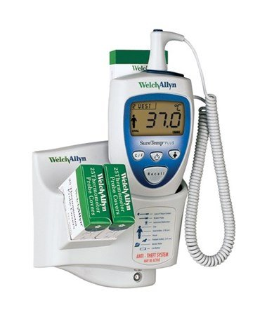 Welch Allyn Suretemp Plus692SureTempThermometer,Wall Mt(Lock Wall), 9 ft Rectal Prb&Well 01692-301