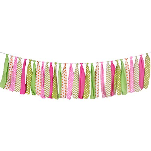 ONINIT Watermelon Banner Safety Fabric Bunting Garlands for Kids Birthday,Baby Shower Decoration,Best Kids Birthday Party Decoration for Photo Booth Props,Party Supplies -