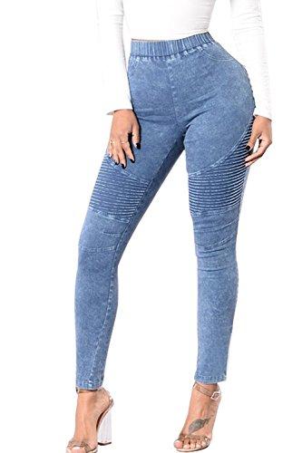 Women 's Casual Skinny Denim Elástico De Cintura Alta Pantalones Jeans Push Up Azul