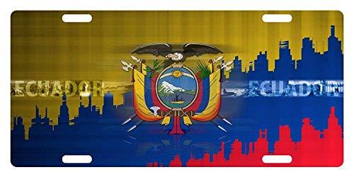 SSLife Ecuador Flag South America Emblem City License Plate Metal Aluminum Vanity Auto Car Tag for Decoration 6×12 Inchs – Go4CarZ Store