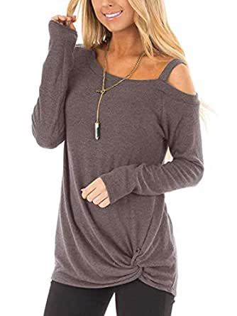 Autumn Women's Long Sleeve Casual Style Loose Solid Color Irregular Neckline T-Shirt Kink Design Top Womens Outwear