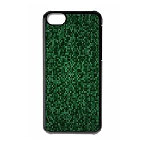 iPhone 5C Case,Green Pixels Mosaic Pattern Hard Shell Back Case for Black iPhone 5C Okaycosama371447