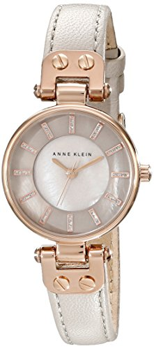 Anne Klein Women's AK/1950RGTP Rose Gold-Tone Watch With Taupe Leather Band