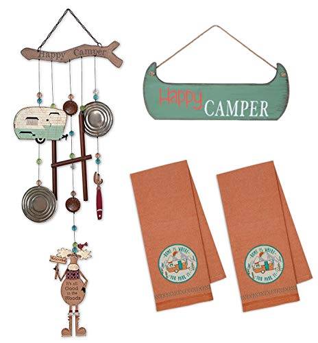 FAKKOS Design RV Decor Happy Camper Kitchen Towels Hanging Wooden Sign Retro Vintage Theme Moose Wind Chimes ...