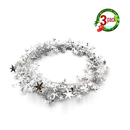 Wire Star - 3PCS Wire Star Garland,Christmas Decorations Party Accessory,25 Ft x 3 (Silver)