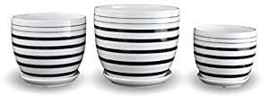Set of 3 Multicolor Stripes Porcelain Planters Flower Pots (Black)