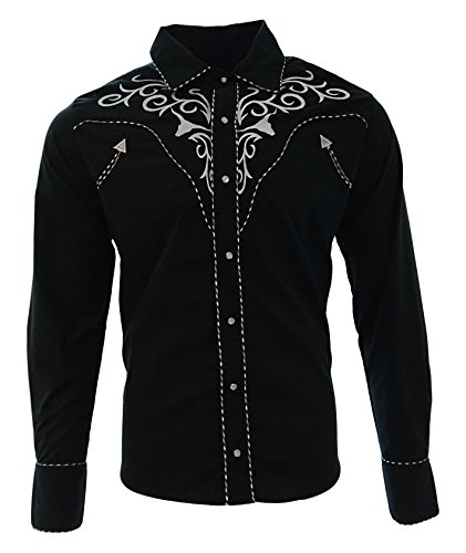 El-General-Cowboy-Shirt-Camisa-Vaquera-Western-Wear-Long-Sleeve-Black