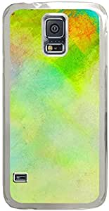 Chevron Retro Vintage Tribal Nebula Pattern Galaxy S5 Cases - Compatible With Samsung Galaxy S5 SV i9600 - Hard Shell Transparent Samsung Galaxy S5 SV i9600 Cover Cases Abstract Yellow Green Oil