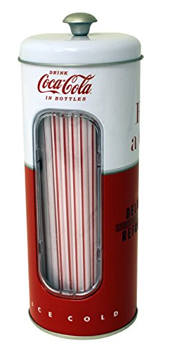 The Tin Box Company 771587-12 Coca Cola Holder with 50 Straws (Vintage Kitchen Collectibles)