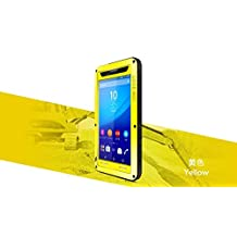 Sony Xperia T2 Ultra Case - CGJY Heavy Duty Aluminum Metal Double mixed Bumper ShockProof WaterProof DustProof with Gorilla Glass Case Cover for Sony Xperia T2 Ultra Yellow