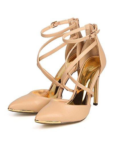 Liliana DG85 Women Leatherette Gold Tip Pointy Toe Criss Cross Stiletto Pump - Nude 1RdYznpmI