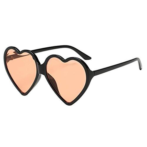 Forma Eyewear de Marco Sol Gafa Rojo Plástico Corazón para de Amarillo Colores Sunglasses Aviador Hombre Retro Baoblaze Mujer de Iqzvwq