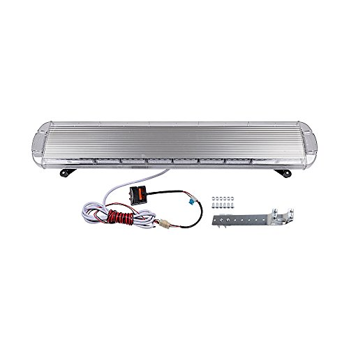 Amber White 47 inch 88-LED Emergency Warning Security Low Profile Roof Top Mount Strobe Light Bar for Tow Truck Construction Vehicles ()