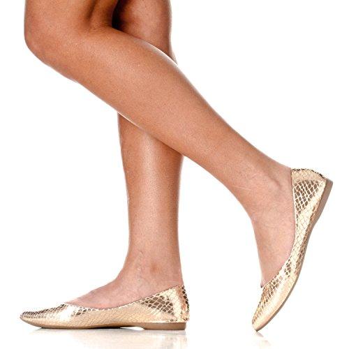 Riverberry Womens Ella Base Chiusa Punta A Punta Balletto Piatto Slip On Scarpa Serpente Doro