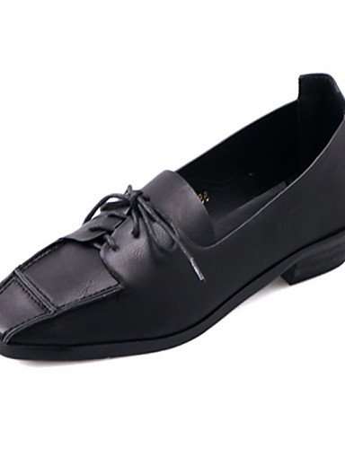 Cn39 Eu39 Uk5 Tacón Marrón Black Mujer Njx Cuadrada us7 5 Zapatos Uk6 5 Semicuero us8 Robusto Negro Brown Oxfords Punta Cn38 Casual De Eu38 Pwq1axq6