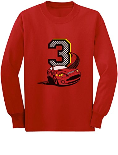 3rd Birthday 3 Year Old Boy Race Car Party Toddler/Kids Long Sleeve T-Shirt 3T Red - Race Infant Long Sleeve Boys