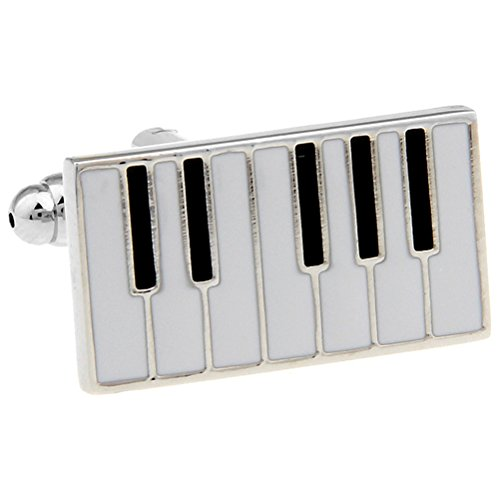 Piano Keys Cufflinks Gift Music Fan Cuff Links (Rectangular)