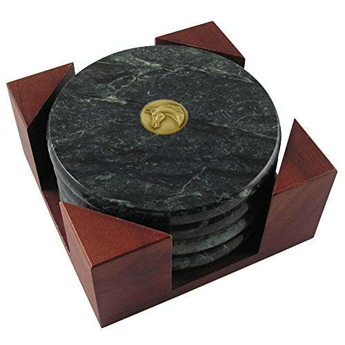 (Marble Fab Coaster Set of 4 with Arabian Horse Brass)