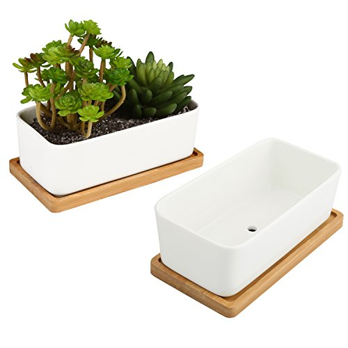 Round Planter Plastic (White Ceramic Rectangular Succulent Planters with Removable Bamboo Saucers, Set of 2)