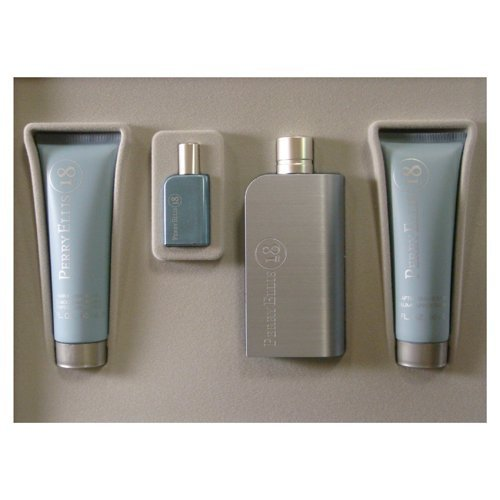 Perry Ellis '18' Men's 4-piece Gift Set, EAU De Toilette Spray 3.4 Oz., Hair & Body Wash/ Gel 3.0 Oz., After Shave Balm 3.0 Oz., EAU De Toilette Spray .25 Oz. by Perry Ellis