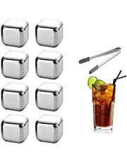 Stainless Steel Ice Cubes, Durable Reusable Chilling Stones for Whiskey Wine, Keep Your Drink Cold Longer, Whiskey Stones for Kitchen Bar(8pcs)