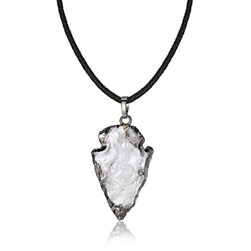 "COAI 22"" Leather Cord Healing Clear Quartz Crystal Pendant Necklace for Women (Necklace Clear Crystal)"