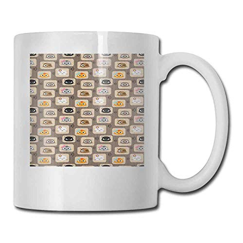 Cat Ceramic Mug Patchwork Inspired Pattern Adorable Kitty Faces Silly Expressions Footprints Stripes Made of Ceramic Multicolor 11oz