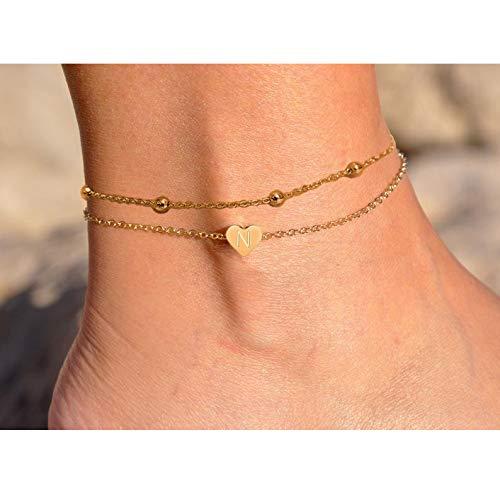 (J Meng Daity Layered Heart Initial Anklet Bracelet for Women,14K Gold Bead Boho Beach Foot Chain (N))