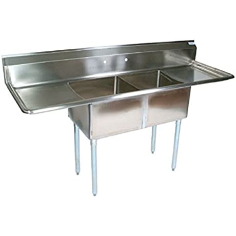 John Boos E2S8 1620 12T18 2 Compartment Sink W Right And Left Drainboard