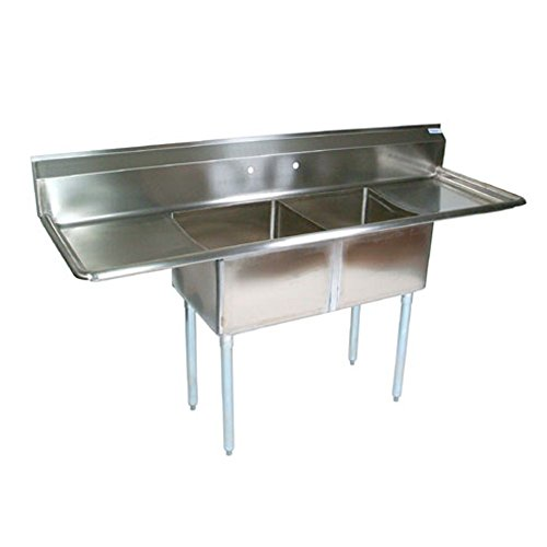 John Boos E2S8-1620-12T18 2-Compartment Sink w/Right and Left Drainboard by John Boos