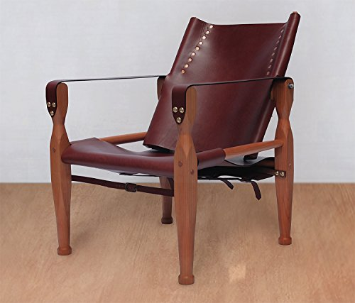 Brown Safari Roorkhee Campaign Camp Leather Wood Lounge Sling Chair Custom Bespoke Outdoor Drinking Relaxing Furniture (Furniture Bespoke Outdoor)