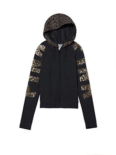 Victoria's Secret PINK Hoodie Sweatshirt Black & Gold Bling Full Zip- Small by Vs Secret PINK