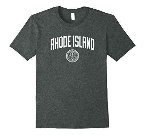 Mens Rhode Island T-Shirt, State Seal Logo Sports College-Style T Large Dark (College Style Crest T-shirt)