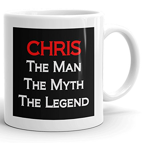 Chris Coffee Mugs - The Man The Myth The Legend - Best Gifts for men - 11oz White Mug - Red